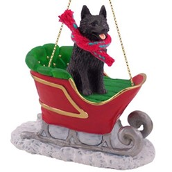 Schipperke Sleigh Christmas Ornament