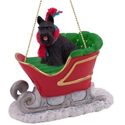 Scottish Terrier Sleigh Christmas Ornament