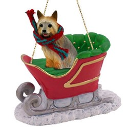 Silky Terrier Sleigh Christmas Ornament