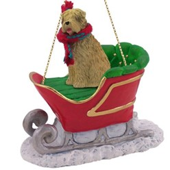 Soft Coated Wheaten Sleigh Christmas Ornament