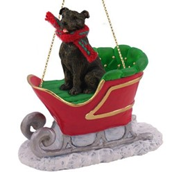 Staffordshire Bull Terrier Sleigh Christmas Ornament