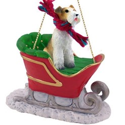 Wire Fox Terrier Sleigh Christmas Ornament