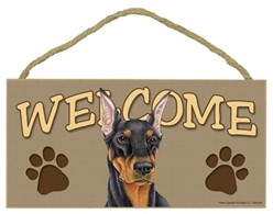Doberman Welcome Sign, a Terrific Dog Breed Gift