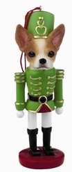 Chihuahua Tan and White Nutcracker Christmas Ornament