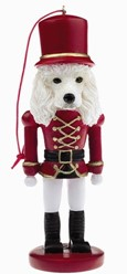 Poodle White Nutcracker Christmas Ornament