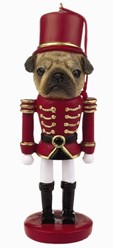 Pug Fawn Nutcracker Christmas Ornament