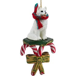 Candy Cane American Eskimo Christmas Ornament
