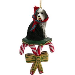 Candy Cane Bearded Collie Christmas Ornament