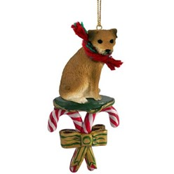 Candy Cane Border Terrier Christmas Ornament