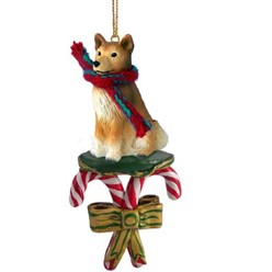 Candy Cane Finnish Spitz Christmas Ornament