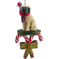 Candy Cane Mastiff Christmas Ornament
