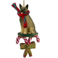 Candy Cane Norwegian Elkhound Christmas Ornament