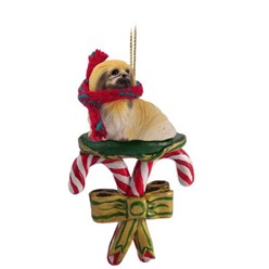 Candy Cane Pekingese Christmas Ornament
