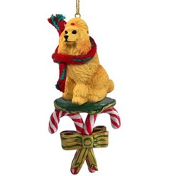 Candy Cane Poodle Christmas Ornament