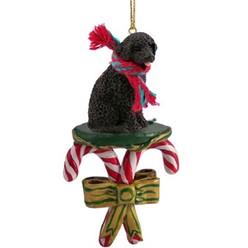 Candy Cane Portuguese Water Dog Christmas Ornament