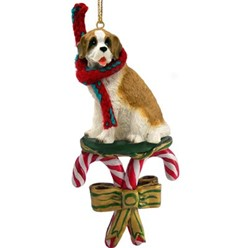 Candy Cane Saint Bernard Christmas Ornament