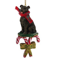 Candy Cane Staffordshire Bull Terrier Christmas Ornament