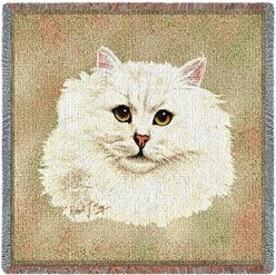 Persian  Cat White Throw