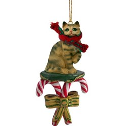 Candy Cane Brown Tabby Christmas Ornament