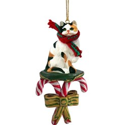 Candy Cane Calico Cat Christmas Ornament