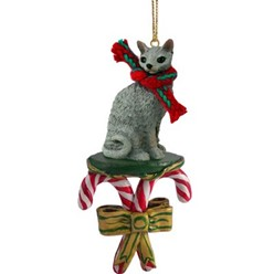 Candy Cane Cornish Rex Cat Christmas Ornament