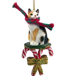 Candy Cane Japanese Bobtail Christmas Ornament