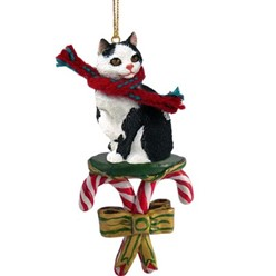 Candy Cane Manx Christmas Ornament