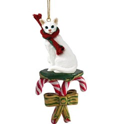 Candy Cane Oriental Shorthair Cat Christmas Ornament