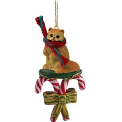 Candy Cane Persian Cat Christmas Ornament