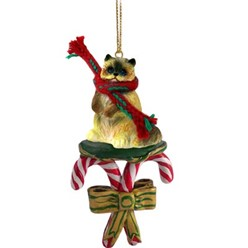 Candy Cane Ragdoll Cat Christmas Ornament