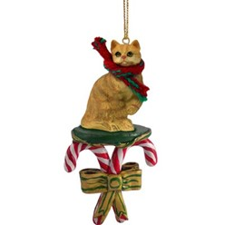 Candy Cane Red Tabby Christmas Ornament