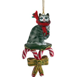 Candy Cane Silver Tabby Christmas Ornament