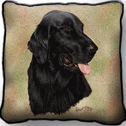 Flat Coated Retriever Pillow, Made in the USA