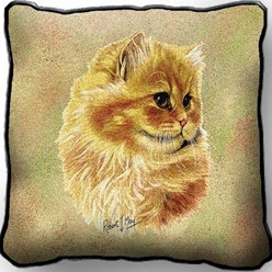 Persian Cat Cameo Pillow, Made in the USA