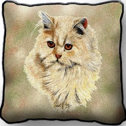 Persian Cat Cream Pillow, Made in the USA