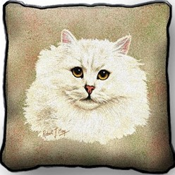 Persian Cat White Pillow, Made in the USA