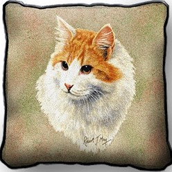 Orange and White Cat Pillow, Made in the USA