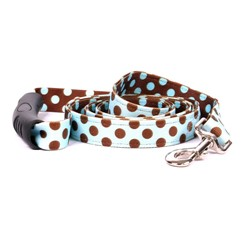 Uptown Blue and Brown Polka Leash