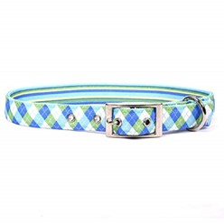 Uptown Blue and Green Argyle Buckle Collar