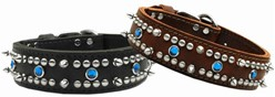Jewel Leather Big Dog Collar, Made in the USA
