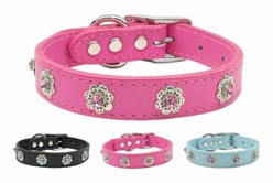 Jewel Flower Leather Collar, Made in the USA