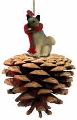 Pine Cone Akita Dog Christmas Ornament