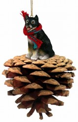 Pine Cone Alaskan Malamute Dog Christmas Ornament