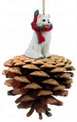 Pine Cone American Eskimo Dog Christmas Ornament