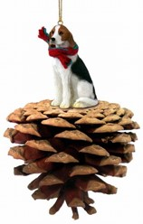 Pine Cone American Fox hound Dog Christmas Ornament