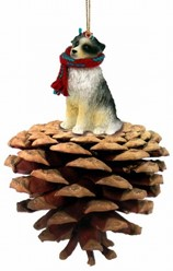 Pine Cone Australian Shepherd Dog Christmas Ornament