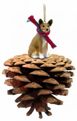 Pine Cone Basenji Dog Christmas Ornament