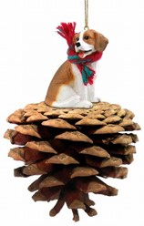 Pine Cone Beagle Dog Christmas Ornament