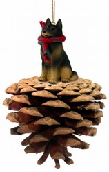 Pine Cone Belgian Tervuren Dog Christmas Ornament