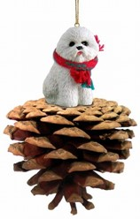 Pine Cone Bichon Frise Dog Christmas Ornaments
